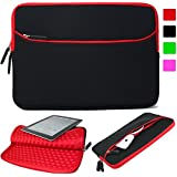 Lacdo 11-12 Inch Super Bubble Waterproof Neoprene Sleeve Case Bag / Notebook Computer Case / Briefcase Carrying Bag / Ultrabook Laptop Bag Case / Pouch Cover [with Exterior Zipper Pocket] for Apple MacBook Air 11.6-inch / New Macbook 12 inch / Acer / Asus / Dell / Fujitsu / Lenovo / HP / Samsung / Sony / Toshiba / for Acer C720 Chromebook/ Acer Aspire E3-111 / Asus X205TA / ASUS Q200E / HP Stream 11 Laptop / HP Pavilion X2/ Samsung Chromebook XE303C12 (Black/Red)
