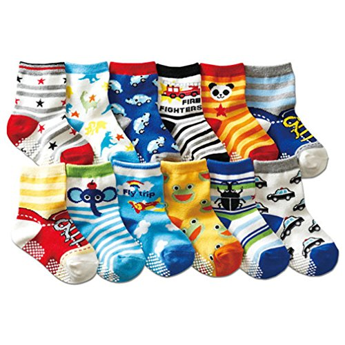 Toptim Baby Socks Non-skid Cotton Socks for Infants and Toddlers (12 Pairs )