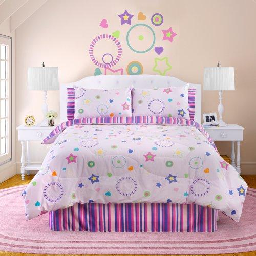 Veratex Bedding Collection Star Dance Glowin The Dark Comforter Set, Pink Multi, Queen Size