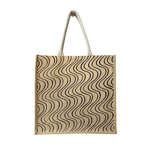 Curv Printed On Natural Base Shopping Jute Bag With Cord Handle