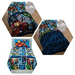 Marvel Avengers Heroes 4 Piece Twin Bedding Set with Reversible Comforter, Sheets and Pillow Case
