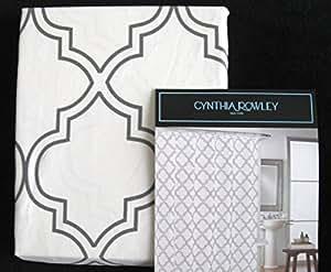 Cynthia rowley moroccan quatrefoil fabric shower curtain for Quatrefoil bathroom decor