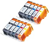 10 Pack Compatible Canon CLI-226 , PGI-225 2 Small Black, 2 Cyan, 2 Magenta, 2 Yellow, 2 Big Black for use with Canon PIXMA iP4820, PIXMA iP4920, PIXMA iX6520, PIXMA MG5120, PIXMA MG5220, PIXMA MG5320, PIXMA MG6120, PIXMA MG6220, PIXMA MG8120, PIXMA MG8120B, PIXMA MG8220, PIXMA MX712, PIXMA MX882, PIXMA MX892. Ink Cartridges for inkjet printers. CLI-526BK , CLI-526C , CLI-526M , CLI-526Y , PGI-525BK