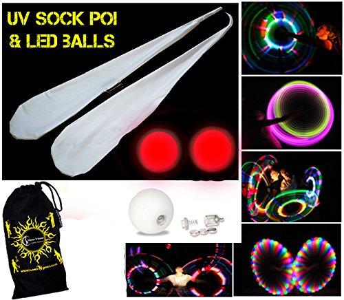 Flames N Games UV Sock Poi Set + 2x LED Glow Juggling Balls (RED) + Travel Bag - Batteries Included!