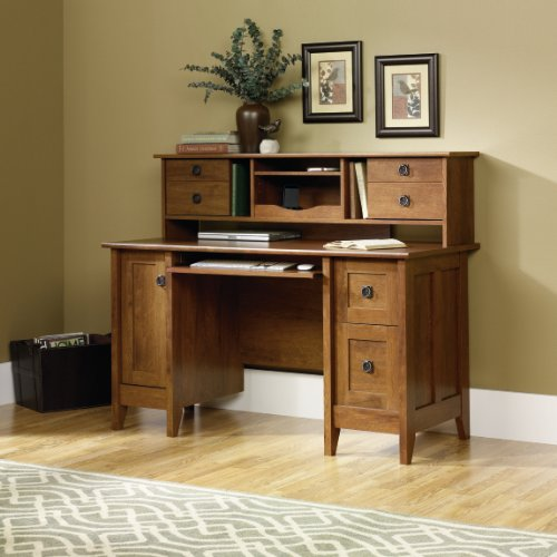 Buy Low Price Comfortable Computer Desk with Hutch – Oiled Oak Finish (B004G55V9K)