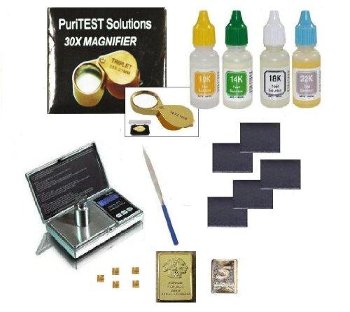 Complete Gold Testing Kit with 4 Bottles Test Acid 10k 14k 18k 22k, Stones, Eye Loupe, File, and FREE mini gold bars
