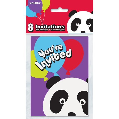 Panda Birthday Invitations, 8ct