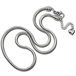 Timeline Treasures Charm Necklace For Women, Stainless Steel Snake Chain, Fits Pandora Jewelry, Lobster Claw Clasp, 22 Inch