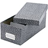 Oxford Reinforced Board Card File With Lift-Off Cover, 6 x 9 Inches, Black/White Agate (40591)