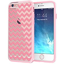 "buy Iphone 6 6S Plus Case 5.5"", True Color® Chevron Waves Printed On Clear Transparent Hybrid Cover Hard + Soft Slim Thin Durable Protective Shockproof Rubber Tpu Bumper Cover Skin - Pink"