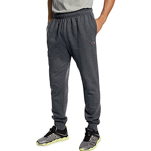Champion Men's Powerblend Retro Fleece Jogger Pant_Granite Heather_L