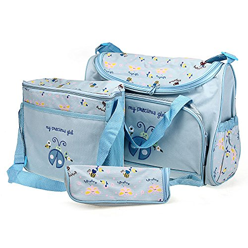 4Pcs Baby Changing Diaper Nappy Bag Mummy Shoulder Handbag Set Blue front-541292