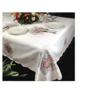 """Fontainebleau Pink Flower Embroidered Tablecloth Beige 70"""" Round"""
