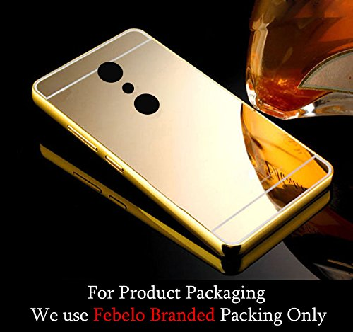 Febelo Branded Luxury Metal Bumper Acrylic Mirror Back Cover Case For Motorola Moto G2 2nd Generation - Gold Plated
