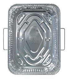 Durable Packaging 4911-50 Disposable Aluminum Rectangular Roasting Pan with Handles,18\
