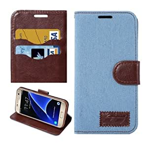 Crazy4Gadget For Samsung Galaxy S7/G930 Jeans Horizontal Flip Leather Case with Holder & Card Slots (Baby Blue)