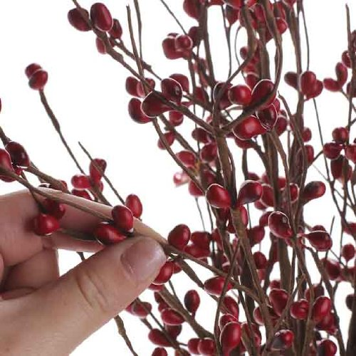 Factory direct craft cranberry look burgundy red wood for Artificial cranberries for decoration