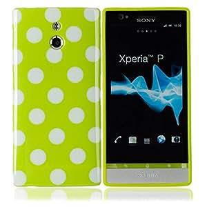 Polka Dots TPU Case for Sony Ericsson LT22i Xperia P Green White Dot