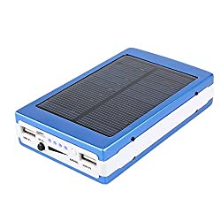 Reliable 15000 mAh High Performance Solar Power Bank with 20 led Light- Blue