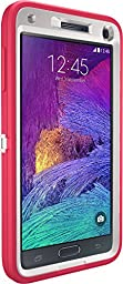 OtterBox Samsung Galaxy Note 4 Case Defender Series - Frustration-Free Packaging - Neon Rose (Whisper White/Blaze Pink)