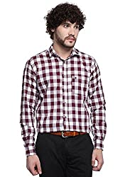 D'INDIAN CLUB Men's Brown Checkered Cotton Casual Shirt