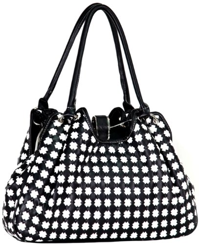 Timeless Black / White Cross Woven Weave Snap Closure Leatherette Satchel Hobo Shoulder Bag Handbag Purse