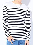 ホワイト×ネイビー M (ベストマート)BestMart 美シルエット ボーダー Tシャツ メンズ 長袖 プルオーバ 胸ポケット カットソー トップス 長そで ボーダーティーシャツ マリンボーダー パネルボーダー ロンT ロングTシャツ 7分袖 7分 七分袖 七分 Uネック Vネック クルーネック ボートネック コットン ストレッチ メンズTシャツ Tシャツメンズ メンズカットソー カットソーメンズ 七分 カジュアル インナー ブランド オシャレ 白 S M L XL LL 春 夏 秋 冬 620607-005-229