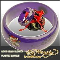 [エド・ハーディー]ED HARDY バングル ラブキル&タイガー/紫 9084 EDBR17 LOVE KILLS SLOWLY PLASTIC BANGLE