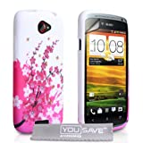 HTC ONE S White / Pink Floral Bee Pattern Silicone Gel Case Cover With Screen Protector Film And Grey Micro-Fibre Polishing Clothby Yousave