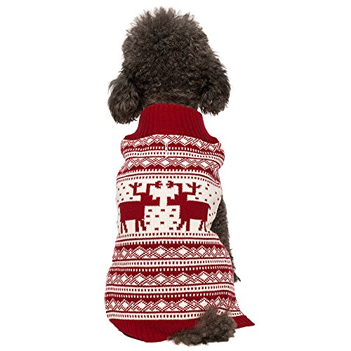 Blueberry Pet Vintage Festive Red Christmas Reindeer Holiday Festive Dog Sweater