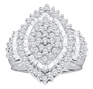 Pricegems 14K White Gold Ladies Round Brilliant Diamond Cluster Set Marquise Shape Cocktail Right Hand Ring (2 cttw, H-I Color, ISI Clarity, Ring Size: 5.5)