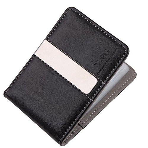 YCC1005 Grigio Nero Leather Wallet clip dei soldi 15 del supporto di carta del progettista per il Mens perfetta Economia Presents da Y&G
