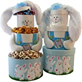 Art of Appreciation Gift Baskets   Somebunny Special Easter Bunny Sweets Tower, Blue