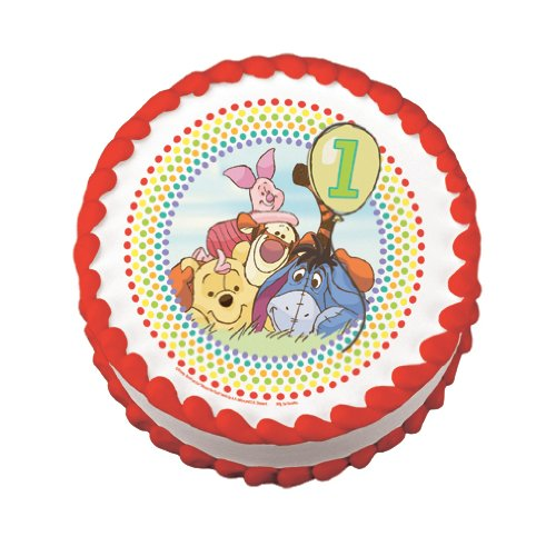 "8"" Round ~ Winnie the Pooh Happy 1st Birthday ~ Edible Image Cake/Cupcake Topper!!! - 1"