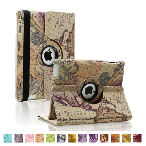 SAVEICON (TM) Leopard Rose Flower Map Pattern 360 Degrees Swivel Rotating PU Leather Case Smart Cover with Stand and Sleep/Wake Function for Apple iPad 4 with Retina Display, iPad 3, iPad 2 (iPad 4/iPad 3/iPad 2, Pattern E)