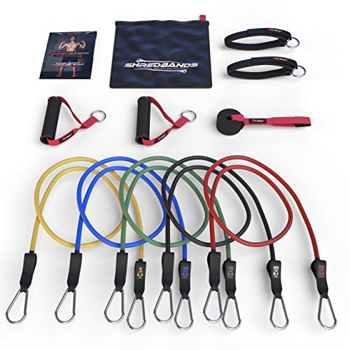 FLASH SALE - Resistance Bands - 11pc Set - Superior Door Anchor Attachment - Ankle Strap for Legs Workout & Carry Case - Heavy Duty Anti-Snap Technology - Bonus 20 Fat Burning Workouts Ebook