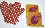 Microwave Oven Geo Gloves with Quilted Golden Beet Potholder (Set of 2)