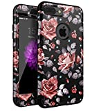iPhone 7 Plus Case,XIQI Flower Three Layer Heavy Duty Shockproof Cute Girls Woman Anti-Scratch Case Cover for iPhone 7 Plus 5.5 inch,New Black Roses