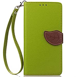 FLYEE Samsung Galaxy S7 Edge Case Wallet Leaf Magnetic Snap Ultra Slim Lightweight PU Flip Cover with Wrist Strap for 5.5 Inch S7 Edge Green