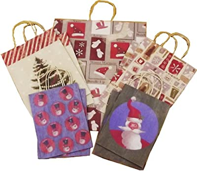 Christmas Let it Snow Paper Handle Gift Bags, Set of 9 Bags, 3 Different Sizes, 5 Designs, Let it Snow Variety Set