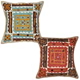 Decorative Patchwork Mirror Work Embroidery Cotton Cushion Cover 16 Inches 2 Pcs - B00LA2J6NY