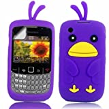 Chicken Silicone Case Cover Shell And Screen Protector For Blackberry Curve 8520 3G 9300 / Purple