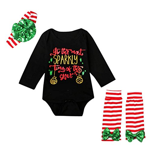 DaySeventh Newborn Baby Boy Girl Infant Romper Jumpsuit 3PC Festival Clothes Set (6M, Z-Black)
