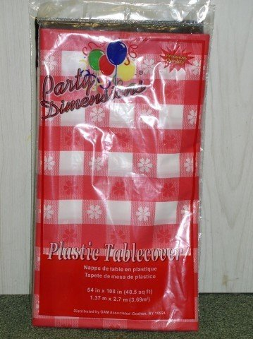 "Plastic Rectangular TableCovers 54"" x 108"" - 20 Colors Color: Red Gingham"