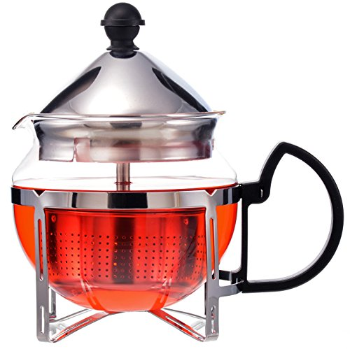 GROSCHE Preston Personal Glass Teapot 600 ml / 20.3 fl oz With All Stainless Steel Drop Down Tea Infuser System Reviews