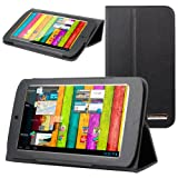 Evecase® SlimBook Leather Folio Stand Case Cover for Archos 70 Titanium HD - 7' Android Internet Tablet - Black