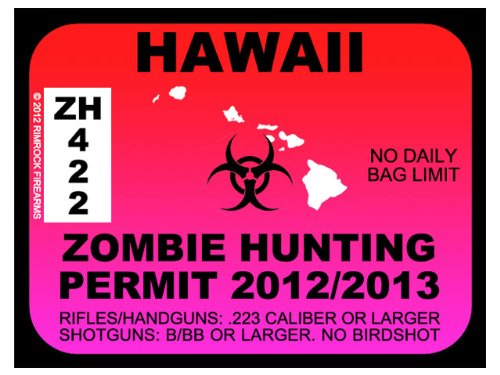 Hawaii Zombie Hunting Permit 2012 (Bumper Sticker)