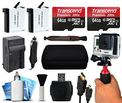 128GB Must Have Accessories Package includes 64GB MicroSD + 2 Replacement Batteries + Travel Charger + Action Stabilizer Grip + Case + HDMI + Small Tripod + More for GoPro HERO4 Hero 4 Black Silver (Go Pro Hero 4 White Accesories compare prices)