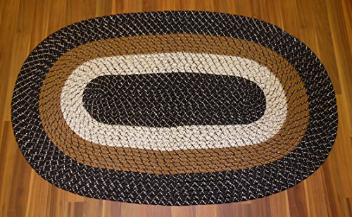 BLACK BROWN BRAIDED OVAL ACCENT RUG TRI-COLOR REVERSIBLE 18