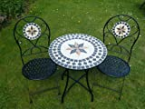 UK-Gardens 3 Piece Metal Mosaic Bistro Set For 2 - Quality Garden Patio Set For Two With 2 Folding Chairs And A 60cm Table